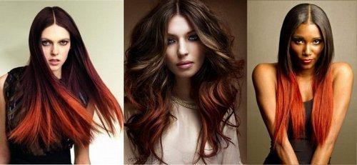 Покраска градиент волос