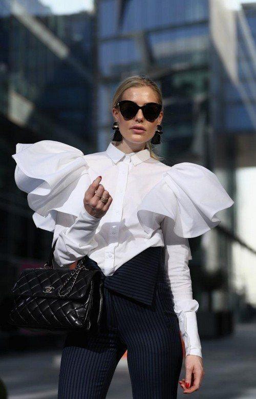 блузка с раздутыми рукавами