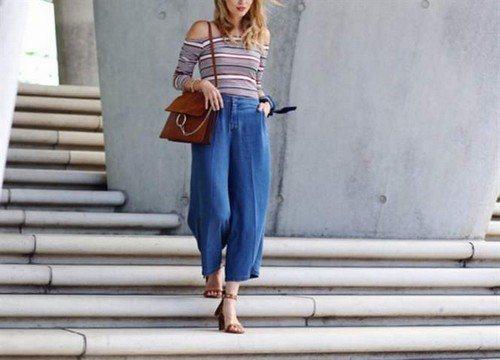 шифоновый топ с джинсами