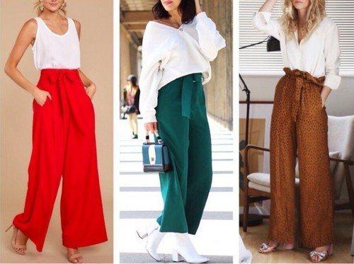 яркие широкие брюки