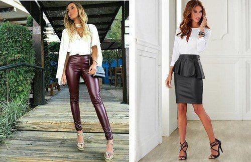 Кожаные брюки и юбки