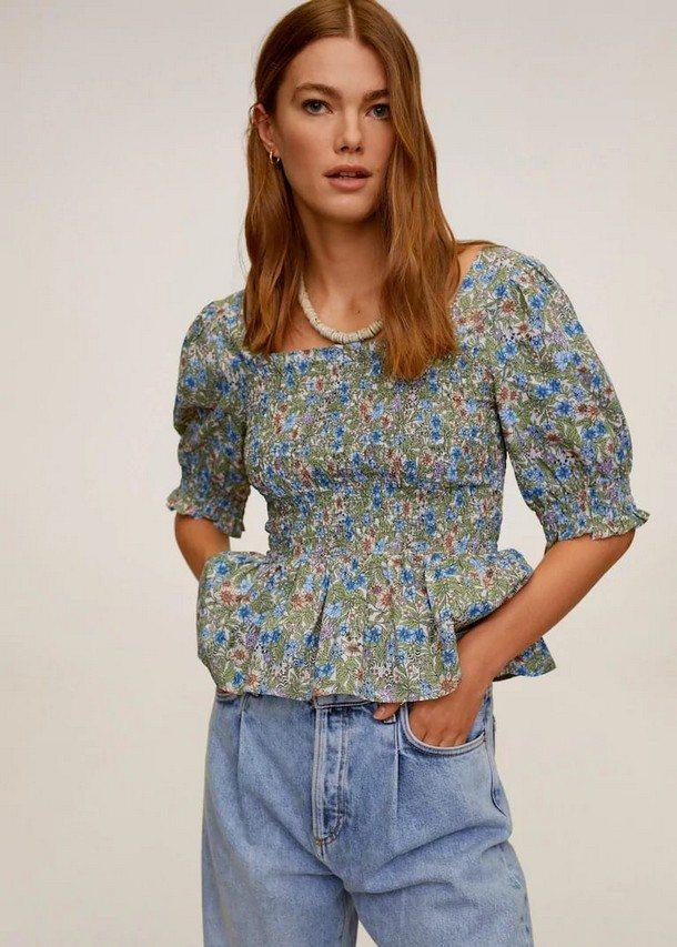 легкая блуза с объемными рукавами