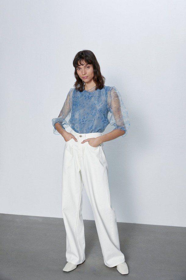 голубая блуза с рукавами-фонариками