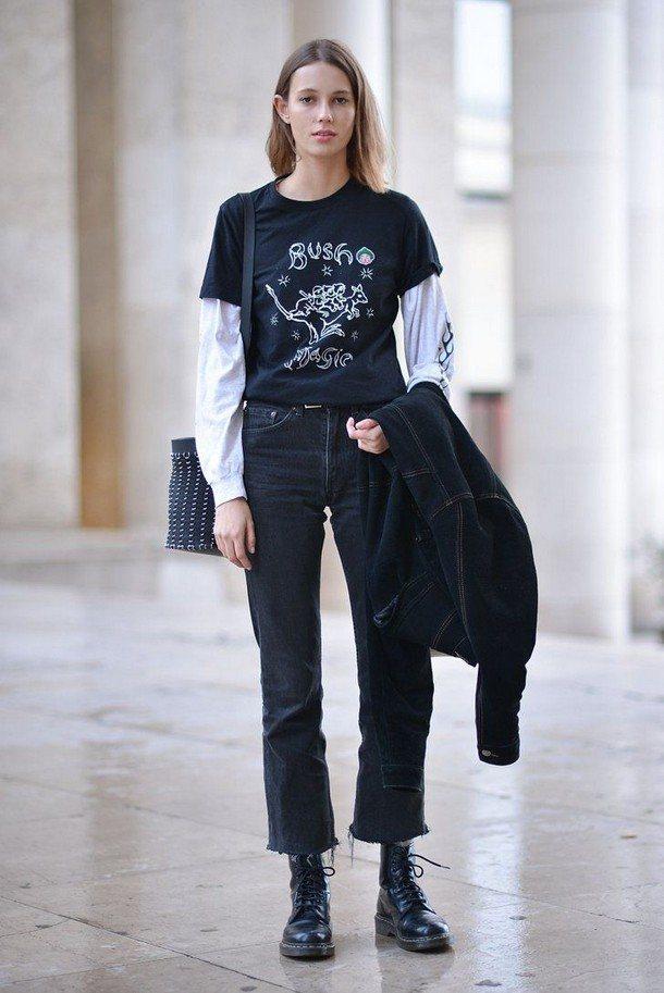 футболка с узкими джинсами